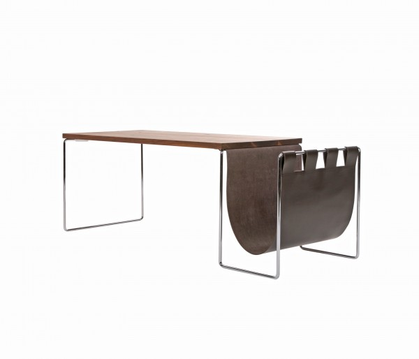 NL couch side table, large with leather tray